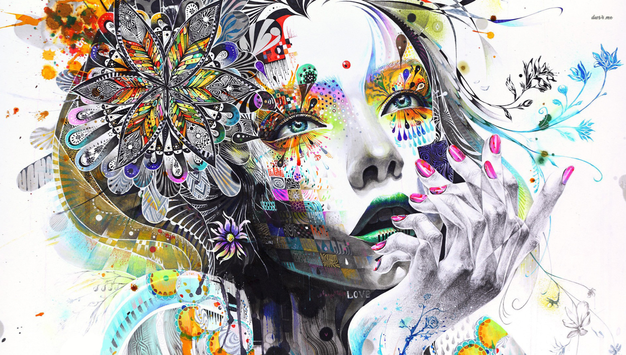 colorful abstract image of a person's face