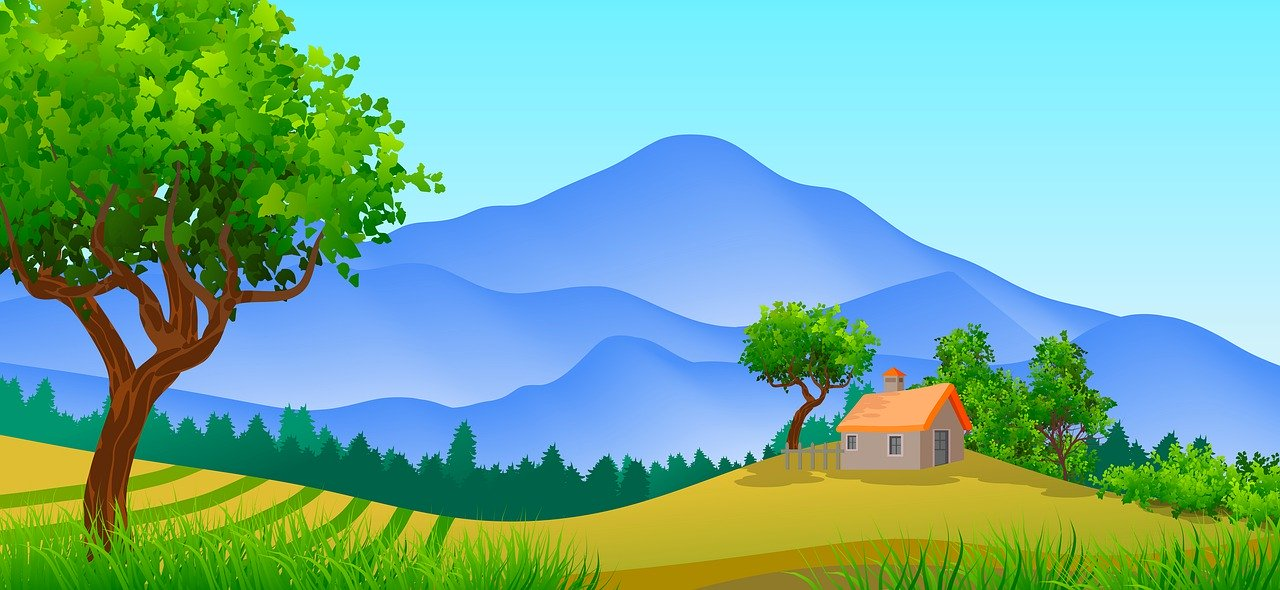 illustration of a house and tree with rolling hills