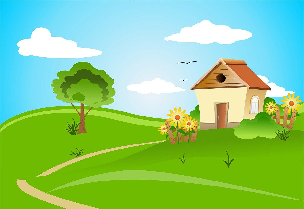 illustration of a house and tree with a green lawn and flowers