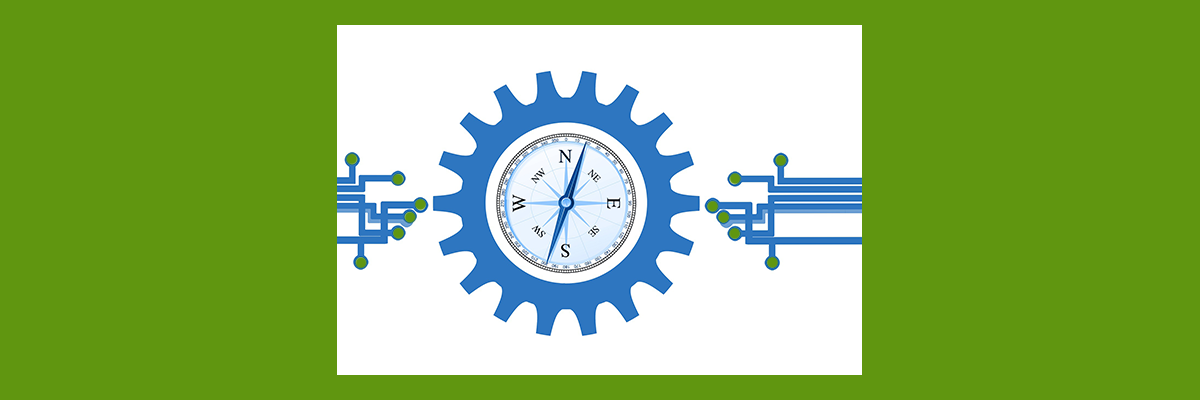 Gears with a compass as the center